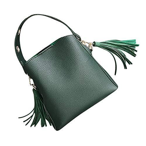♖Loosebee♜ Retro Crossbody Bags for Women, Fringed Bag Michael Kors Vintage Bucket Bag Leather Satchel Shoulder Tote Bags Green