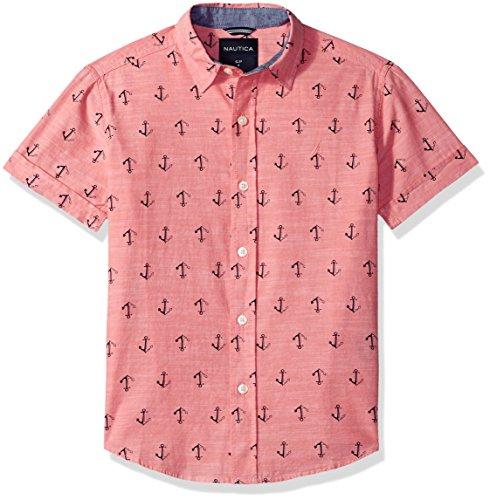 Nautica Boys' Short Sleeve Printed Woven Shirt, Capitola Dark Pink, Medium (10/12) - Nautica Hawaiian Shirt