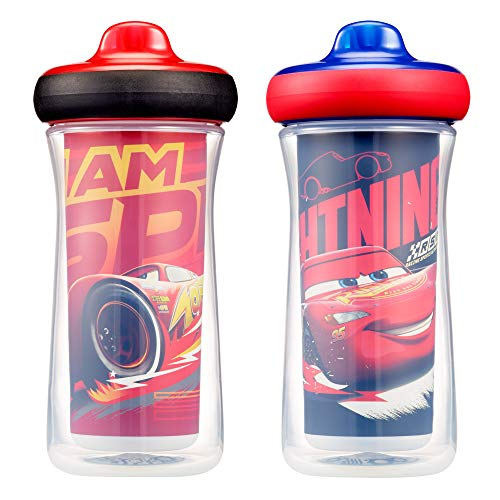 (Disney/Pixar Cars Insulated Hard Spout Sippy Cups 9 Oz, 2pk | Scan with Free Share the Smiles App for Cute Animation | Share with Friends | Leak Proof Cups | Keep Drink Cool | Drop Guard | Toddler Cup)