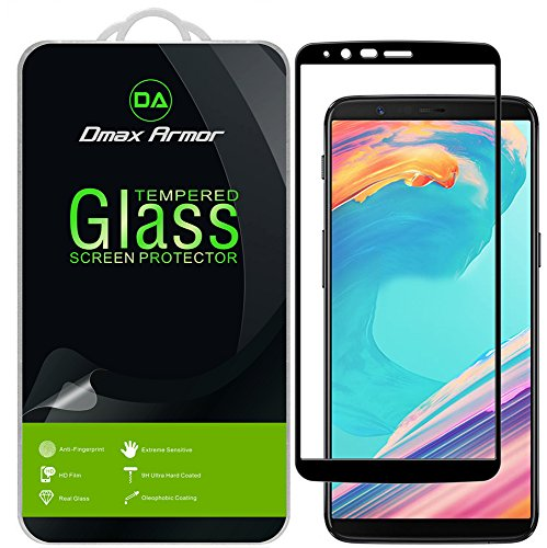 [2-Pack] Dmax Armor for OnePlus 5T Screen Protector, (Full Screen Coverage) [Tempered Glass] Anti-Scratch, Anti-Fingerprint, Bubble Free, (Black)