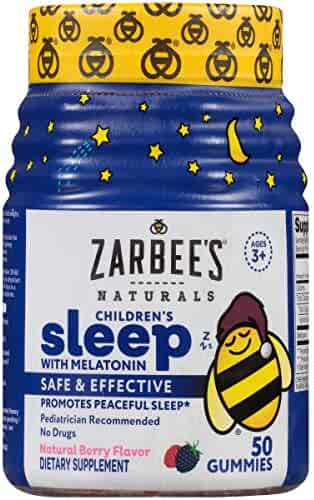 Zarbee's Naturals Children's Sleep with Melatonin Supplement, Mixed Fruit Flavored Gummies for Natural, Restful Sleep*, 50 Gummies (1 Bottle)