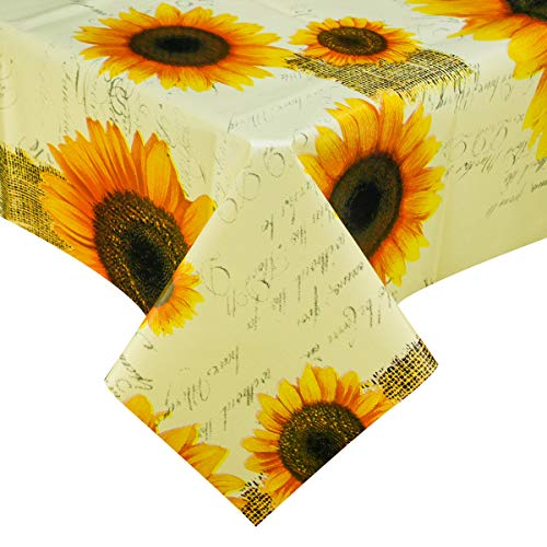 PVC Plastic Oilcloth Vinyl Tablecloth Peva Wipeable Spillproof Waterproof Tablecloths for Picnic Banquet Luau Square Yellow Sunflower Small 4ft 54x54 Inch