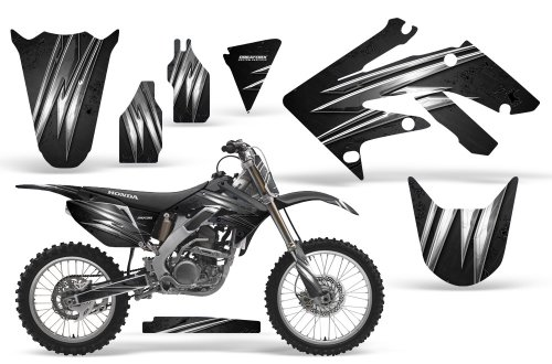 CreatorX Honda Crf 250 R Graphics Kit Decals Stickers Cold Fusion Black Incl. Number Plate Graphics