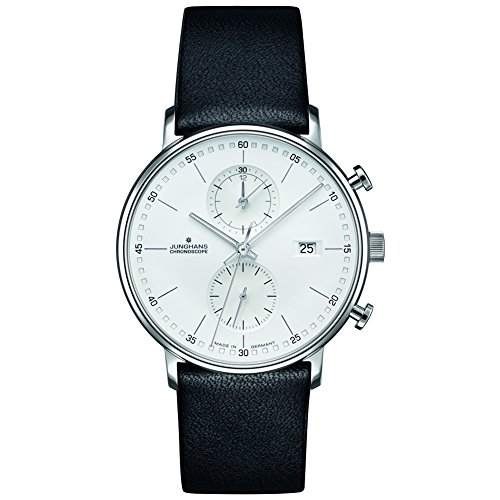 - Junghans Form C Chronoscope Quartz Matt Silver Watch | Black Calfskin 041/4770.00