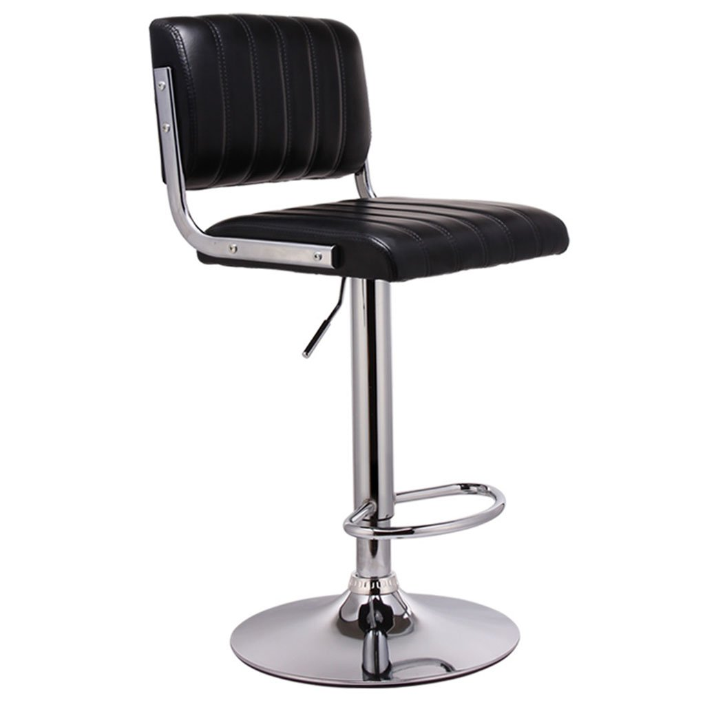 Black High section Black Brown Red White High Low Section Leatherette + Sponge Cushion Bar Chair Can Lifting 360 ° Swivel Chair Bar Steel Chair Cashier Tall Stool Backrest Stool Bar Stools