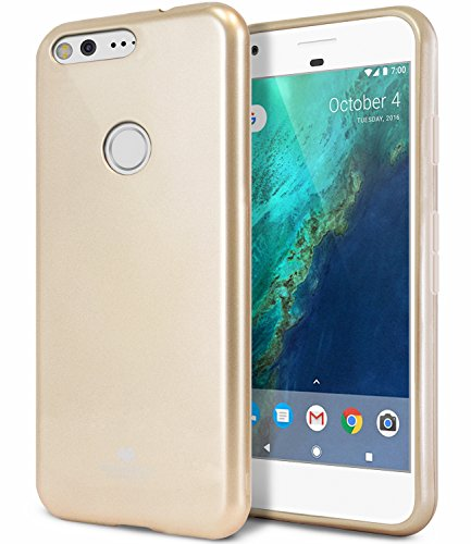 Google Pixel Case, [Thin Slim] GOOSPERY [Flexible] Color Pearl Jelly Rubber TPU Case [Lightweight] Bumper Cover [Impact Resistant] for Google Pixel 2016 (Gold) PIX-JEL-GLD