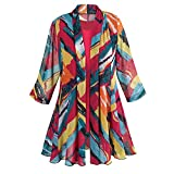 Women's Tunic Jacket and Tank Top Set - Brightly Bold Print - 3/4 Sleeves - 2X