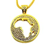 Angelcrab Hip Hop Style Oversize African Map Iced Out Pendant Necklace for Men, 30'' inch Snake Chain (Gold)