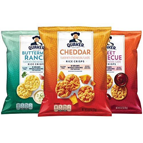 Quaker Rice Crisps, Gluten Free, 3 Flavor Savory Variety Mix, Single Serve 0.67oz, 30 count
