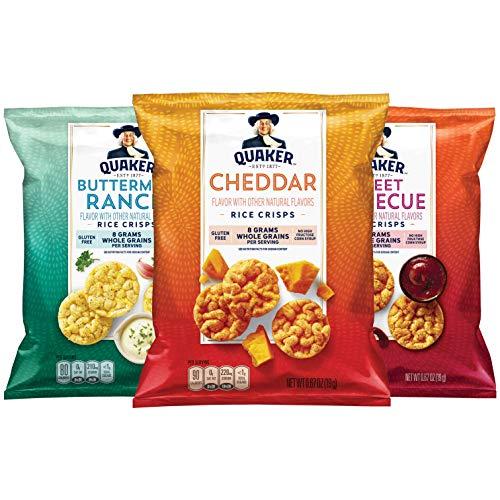 Quaker Rice Crisps, Gluten Free, 3 Flavor Savory Variety Mix, Single Serve 0.67oz, 30 count
