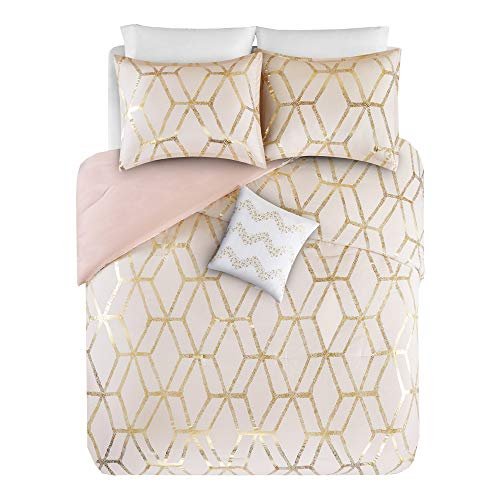 Comfort Spaces Ultra Soft 4 Pieces Full/Queen Comforter Set - [Blush Pink, Gold] - Metallic Brushed Microfiber and Goose Down Alternative Comforter for All Season