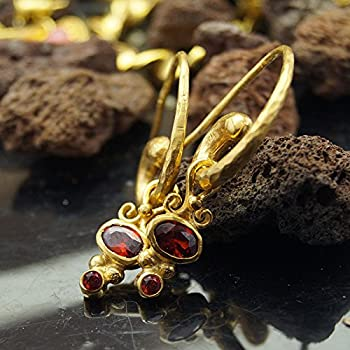 Garnet Charm Hammered Horn Earrings 24 k Gold over 925 k Silver Design By Omer Handmade Turkish Jewelry