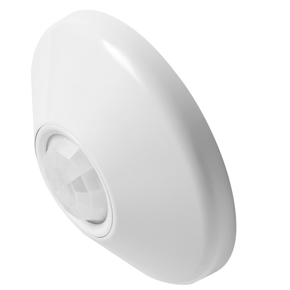 Lithonia Lighting CM PDT 10 R Ceiling Mount Extended Range Small Motion 360-Degree Sensor with Dual Technology and Isolated Low Voltage Relay, White