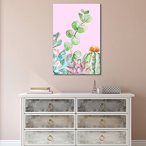 Succulent Plants Series Watercolor Style Plants on Pink Background