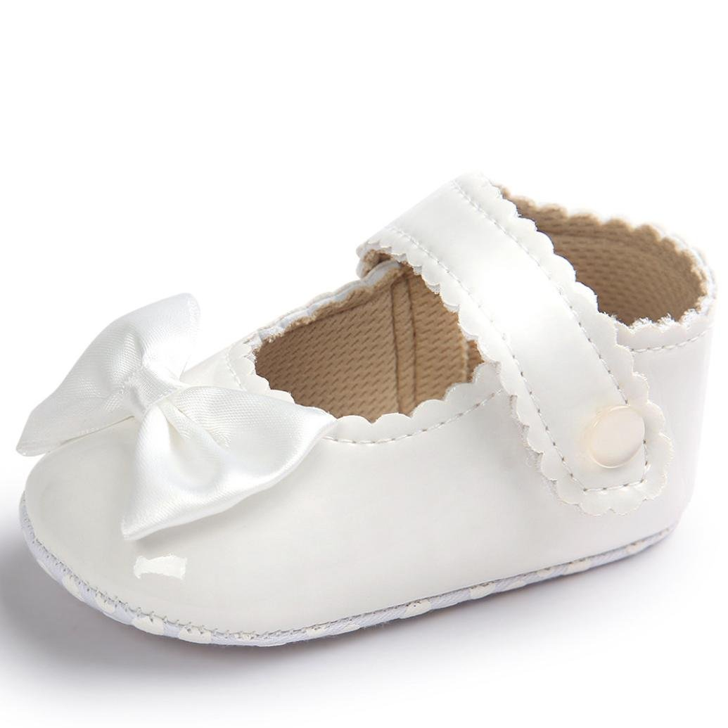Egmy Baby Shoes Baby Girl 0-18 Months Bowknot Leater Shoes Sneaker Anti-Slip Soft Sole Toddlerr