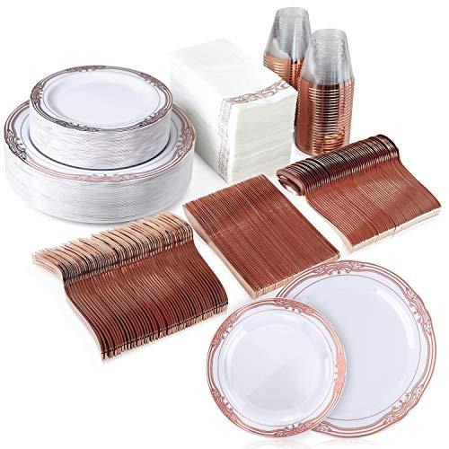 50 Guest 350 Piece Dinnerware Set for Celebrations – 50 Disposable Rose Gold Plastic Plates, 50 Rose Gold Forks, 50 Rose…