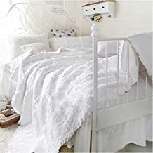 LELVA White Lace Ruffle Bedspreads Set Girls Patchwork Quilt Set Coverlets Set 3Pcs (Full, Queen)