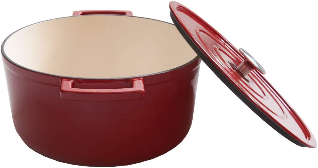 Enameled Cast-Iron Dutch Oven Casserole Dish 6-Quart, Red, New Design 2019, Edging Cookware
