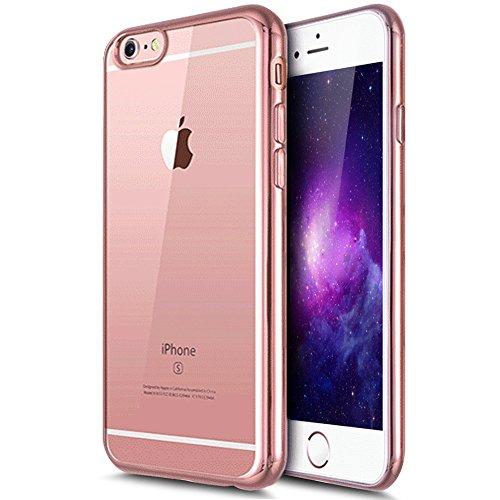 iPhone 7 Case,iPhone7 Case,ikasus [Electroplate Bumper] Flexible Soft Rubber Clear TPU Transparent Skin Scratch-Proof [Rose Gold] Plating Frame Silicone Bumper Case Cover for iPhone 7 4.7