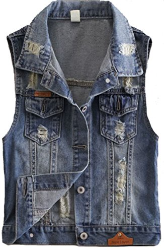 2015 New Short Type Sleeveless Denim Jacket Hole Jeans Vests (Medium, Dark Blue)