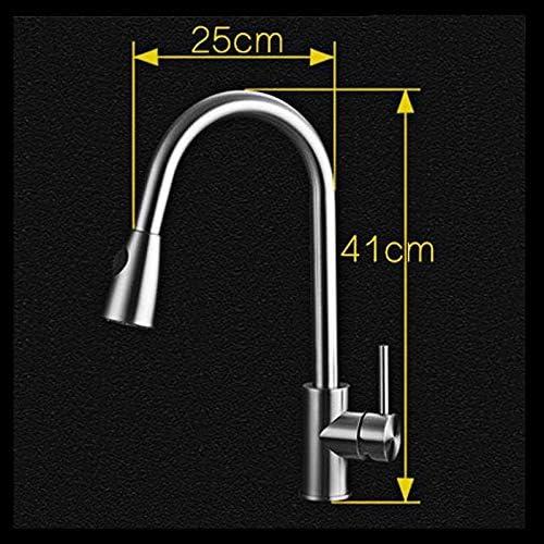 キッチン流域水栓シングルハンドルホールスプレーステンレス鋼プルバスルームのシンクの蛇口真鍮は、水道水をスプレースイベルアウト (Color : A1)