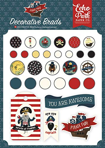 - Echo Park Paper Company PTA176020 Pirate Tales Decorative brads, red, Navy, Black, Brown, Yellow