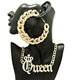 Crescendo SJ INC ICED OUT QUEEN PENDANT FASHION NECKLACE & PIERCED HOOP EARRING SET - RC2981G