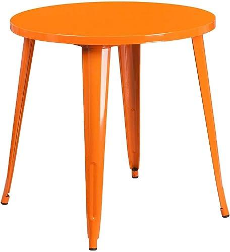 Flash Furniture Commercial Grade 30″ Round Orange Metal Indoor-Outdoor Table