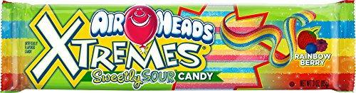 AirHeads Xtremes Sweetly Sour Candy Belts, Rainbow Berry, Non Melting, 3 Ounce (Bulk Pack of 12)