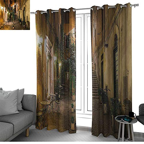 Italian Decor Blackout Window Curtain Panel, Solid Pattern Old Courtyard in Rome Italy Cafe Chairs City Ambience Houses Street Kitchen Curtain Orange Brown Green W96 x L96 Inch