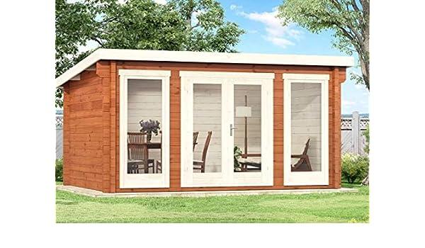Alpholz Atrium-F - Caseta de jardín de madera maciza, con grosor de pared de 40 mm, incluye material de montaje, tamaño: 420 x 320 cm, techo: Amazon.es: Jardín