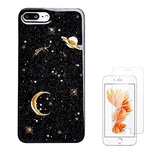 Protector Design Stars Case (Liquid case for iPhone 6/6 Plus/iPhone 7/7 Plus/iPhone 8/8 Plus/iPhone x/10 Luxury Bling Glitter Sparkle Stars Case with Screen Protector (Star Glitter Black, iPhone 6/6s Plus (5.5 inch)))