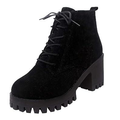 17b9b7209d5b1 UOKNICE Fashion Women Flock Round Toe Lace-up Non-Slip Leather Boots Block  Heel