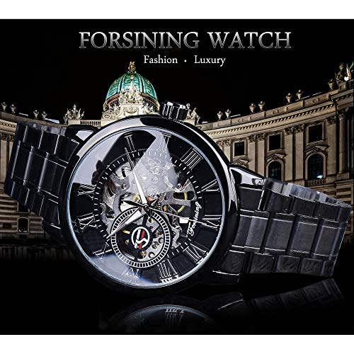 51kNH10S6RL. SS500  - Forsining 3D Hollow Engraving Full Black Clock Luminous Design Black Stainless Steel Men's Mechanical Watches Top Brand Luxury