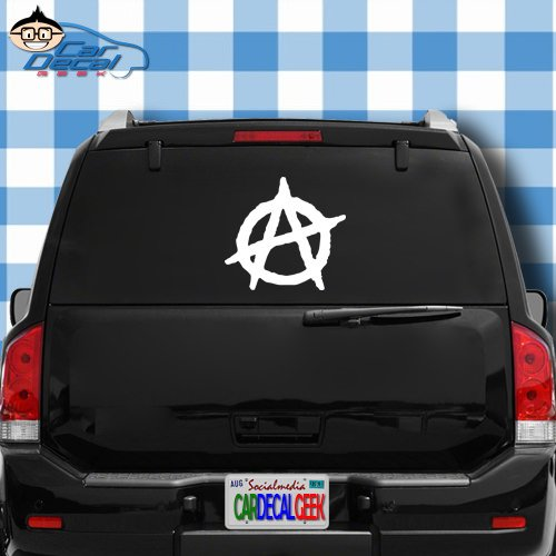 Anarchy Vinyl Decal Sticker Bumper Cling For Car Truck Window Laptop Macbook Wall Cooler Tumbler   Die Cut No Background   Multi Sizes Colors   By Car Decal Geek White  20