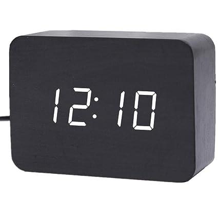 Reloj de madera negro LED Digital Reloj de madera LED Reloj de mesa de escritorio Relojes