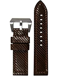 24mm XXL Panatime Brown Vintage Flat Vivola Genuine Leather Watch Band with Brown Stitching 145/90 24/24