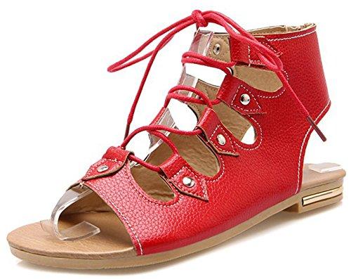 IDIFU Women Gladiator Sandals Shoes Red