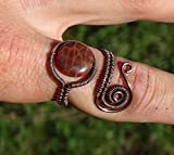 Fire Agate Healing Ring / Wire Wrapped Ring / wire wrapped jewelry / Healing Ring / steampunk jewelry / boho jewelry / Gift for Her