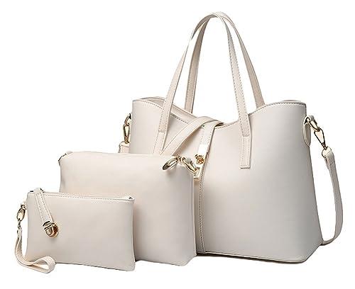 Amazon.com  King Ma Women s Pu Leather Handbag Purse Bags Set 3 Piece Tote  Bag  Shoes 0a639f6b4926f