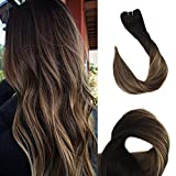 Fshine 18 Inch 100% Remy Human Hair Weft Weave Extensions Straight Hair Ombre Color #1B Off Black Fading to #6 Cheust Brown and #27 Honey Blonde Bayalage 100g Per Pack Double Weft Sew Ins