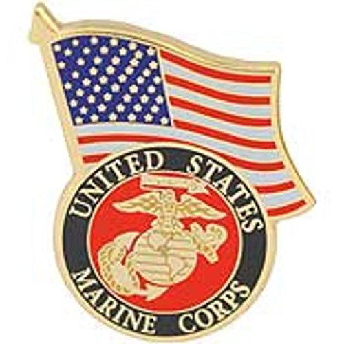 Eagle Emblems Marine Corps Logo and US Flag Lapel / Hat Pin - Emblem Lapel Flag Pin