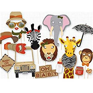 Party Propz Jungle theme Photo Booth Props 16Pcs For Animal Theme Decoration, Animal Birthday or Jungle Party