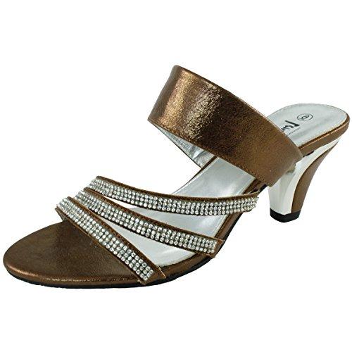 LenaLuisa Durant-11 Rhinestone Straps Sandal (6, (Bronze Evening Sandals)