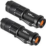 AMASKY(TM) CREE Q5 LED Mini 7W Flashlight Torch, Adjustable Focus, Super Bright 500 Lumen, Skid-proof & splashproof design. (2 in Pack)