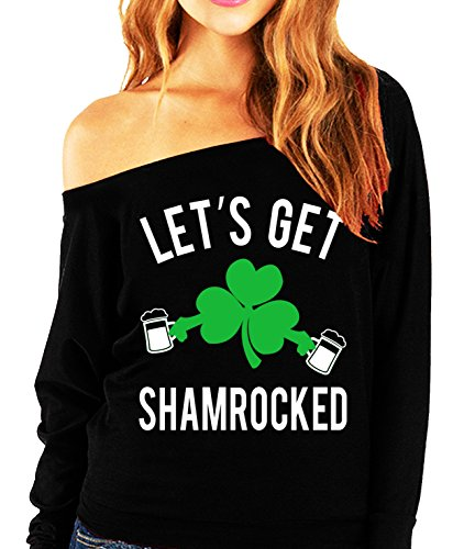 Let's Get Shamrocked St. Patrick's Day Slouchy Light Weight Shirt (Small)