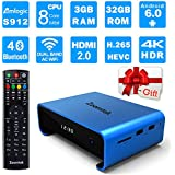 Zoomtak Tv Box UPro S912 Qcta Core 3GB+32GB Android 6.0 Dual Band WiFi 2.4/5.8G Smart Box Support 4K HD H.265 Bluetooth 4.0 and VP9 Decoding Blue