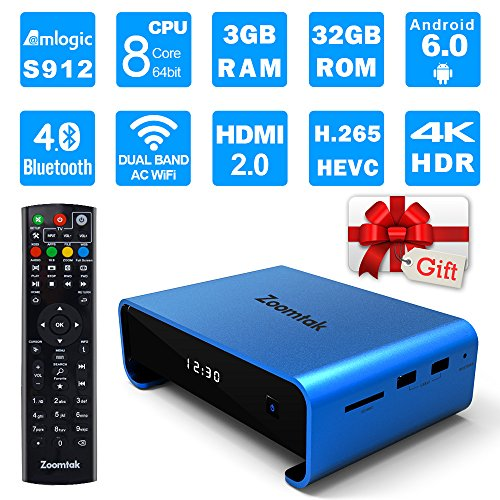 Zoomtak Tv Box UPro S912 Qcta Core 3GB+32GB Android 6.0 2.4/5.8G Dual Band WiFi Smart Box Support 4K HD H.265 Bluetooth 4.0 and VP9 Decoding Blue by Zoomtak