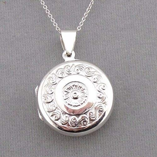Round Locket Necklace For Women Silver Embossed Design Jewelry NEW