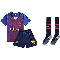 PAOFU-Barcelona Lionel Messi # 10 barn fotbollströja med strumpor
